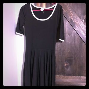 Black Nicole dress with white trim-small